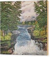 Cliff Falls Wood Print