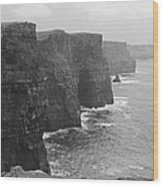 Cliff Of Moher Ireland Bw Wood Print