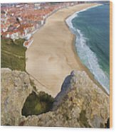 Cliff Of The Seaside Village Of Nazare Wood Print