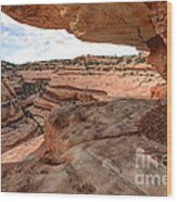 Cliff Overhang In Southwest Sandstone Canyon - Utah Wood Print by Gary Whitton