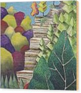 Cliff Overlooking Lake With Colorful Trees Wood Print