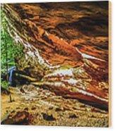 Cliff Rocks And Waterfall Wood Print