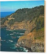 Cliffs At Cape Foulweather Wood Print by Adam Jewell