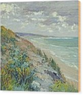 Cliffs By The Sea At Trouville  Wood Print