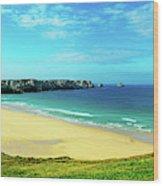 Cliffs In The Sea, Pointe De Pen-hir Wood Print