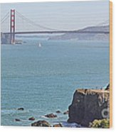 Cliffs Near Golden Gate Bridge Wood Print