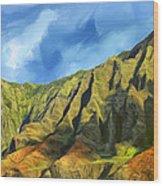 Cliffs On The Na Pali Coast Wood Print