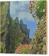 Cliffside Sea Thrift Wood Print by Jeff Kolker