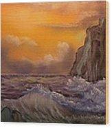Cliffside Wave Wood Print