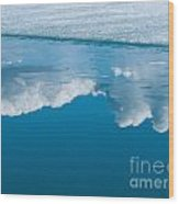 Climate Change Blue Arctic Water Reflected Clouds Wood Print