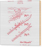 Climber For Skis 1939 Russell Patent Art Red On White Wood Print