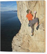 Climber Reaches For Hand Hold Wood Print