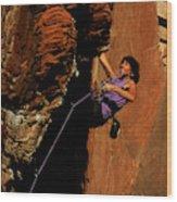 Climber, Red Rocks, Nv Wood Print