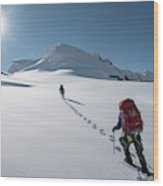 Climbers Nearing The Summit Wood Print