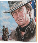 Clint Eastwood American Legend Wood Print