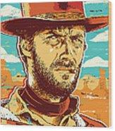 Clint Eastwood Pop Art Wood Print