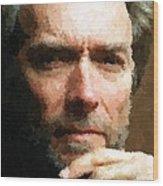 Clint Eastwood Portrait Wood Print