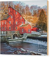 Clinton Mill In Winter Wood Print