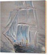 Clipper In Mist Wood Print