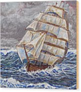 Clipper Ship Wood Print