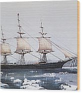 Clipper Ship Red Jacket In The Ice Off Cape Horn On Her Passage From Australia To Liverpool Wood Print