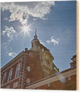 Clock At Independence Hall Wood Print by Kay Pickens