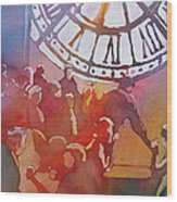 Clock Cafe Wood Print