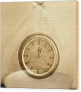 Clock In An Hour Glass Wood Print