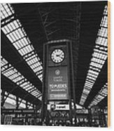 clock in Santiago central railway station Chile Wood Print