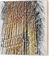 Clock Tower At Night Wood Print