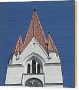 Clock Tower. Evangelic Lutheran Church. Silute. Lithuania. Wood Print
