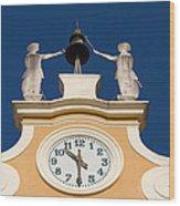 Clock Tower In Bardolino Wood Print