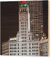 Clock Tower In Chicago  Wood Print