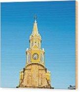 Clock Tower Of Cartagena Wood Print