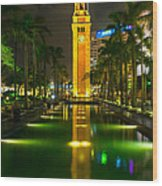 Clock Tower Of Old Kowloon Station Wood Print by Hisao Mogi