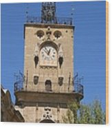 Clocktower - Aix En Provence Wood Print