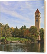 Clocktower And Autumn Colors Wood Print