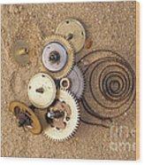 Clockwork Mechanism On The Sand Wood Print