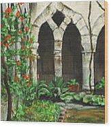 Cloister Courtyard Wood Print