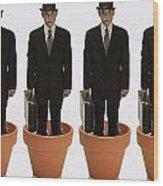 Clones Of Man In Business Suit Standing Wood Print by Darren Greenwood