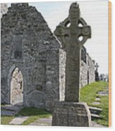 Clonmacnoise Cathedral  And High Cross Ireland Wood Print