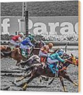 Close Finish At Turf Paradise Wood Print