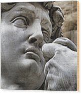 Close-up Face Statue Of David In Florence Wood Print