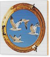 Close-up Of A Boat Closed Porthole With Flying Seagull On The White Background Wood Print