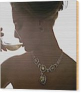 Close Up Of A Young Woman Wearing Jewelry Wood Print