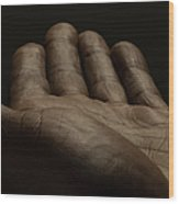 Close Up Of An Open Male Hands, Dark Wood Print