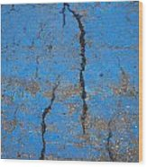 Close Up Of Cracks On A Blue Painted Wood Print by Perry Mastrovito