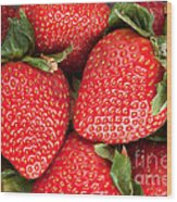 Close Up Of Delicious Strawberries Wood Print