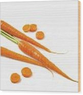 Close-up Of Fresh Carrots Wood Print