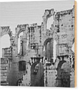 Close Up Of Remains Of Upper Deck In The Old Roman Collosseum At El Jem Tunisia Wood Print